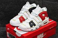 Мужские кроссовки Nike Air More Uptempo 96  белые с золотом