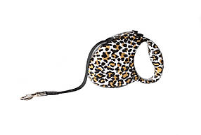 Поводок-рулетка для собак FOX с принтом Леопард 5 метров