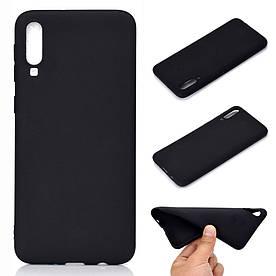 Чехол накладка для Samsung Galaxy A70 A705FD силиконовый матовый, черный