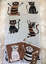 "Коврик полотенце пляжное из льна 70х140 ""Кошечки"""