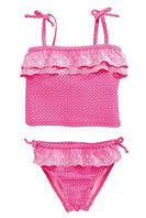 Купальный костюм-двойка, танкини, розового цвета, с красивыми оборками/завязками, р-ры до 6-ти лет