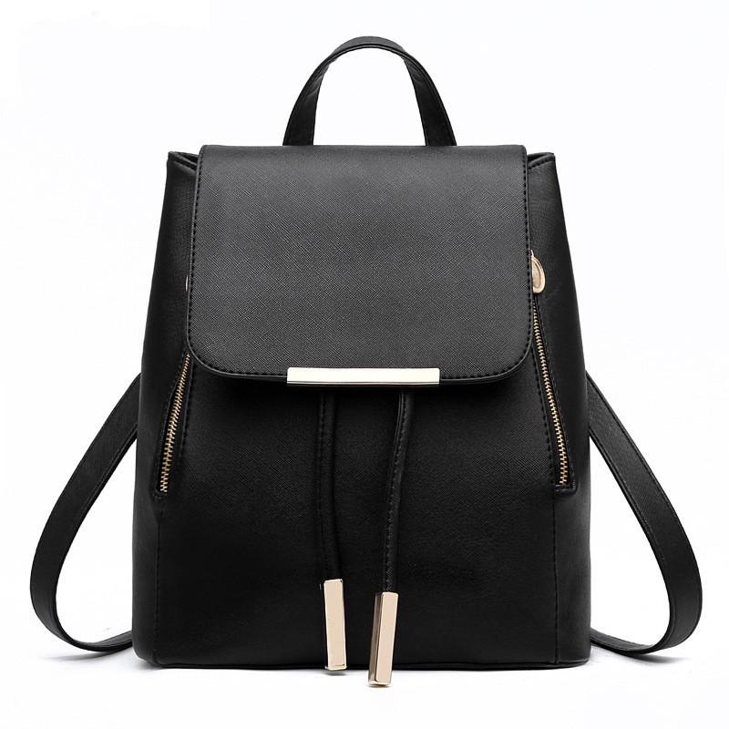 Женский черный рюкзак. повседневный рюкзак эко-кожа, городской рюкзак черного цвета СС-6443-10