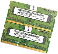 Оперативная память для ноутбука Micron SODIMM DDR3L 4Gb (2Gb+2Gb) 1600MHz 12800 CL11 (MT8KTF25664HZ-1G6M1) Б/У, фото 1