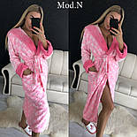 """Женский розовый теплый длинный халат с поясом с поясом и капюшоном """"Звезды"""", фото 3"""