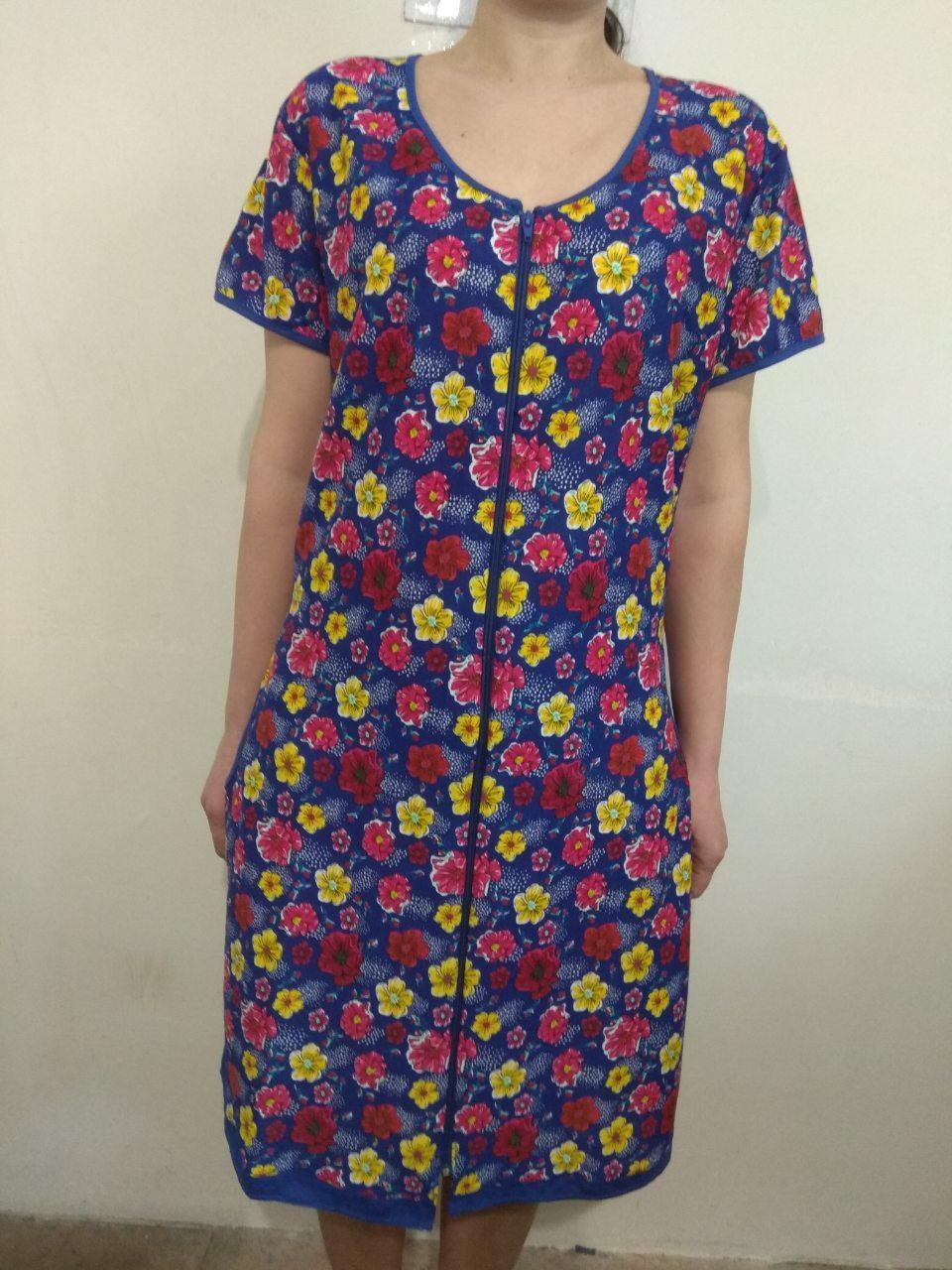 Домашний летний цветастый женский халат из хлопка 46-56