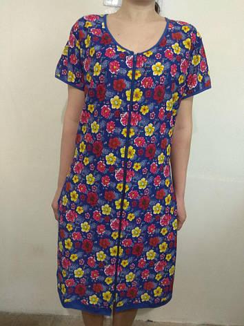 Домашний летний цветастый женский халат из хлопка 46-56, фото 2
