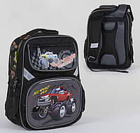 Школьный  рюкзак для мальчика с машиной Монстр Трак (2 отделения, 4 кармана, ортопедическая спинка)