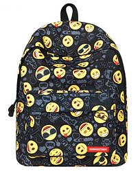 Рюкзак молодежный черный с принтом смайл Emoji
