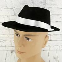 Шляпа детская Мафия флок (черная с белой лентой)