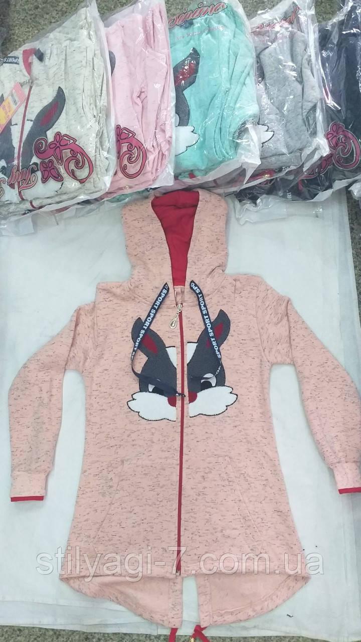 Батник для девочки на байке 7-14 лет розового, бирюзового, серого, синего цвета с капюшоном оптом