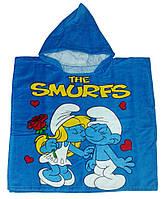 """Пончо пляжное (детское) """"The smurfs 2"""" Piramit"""