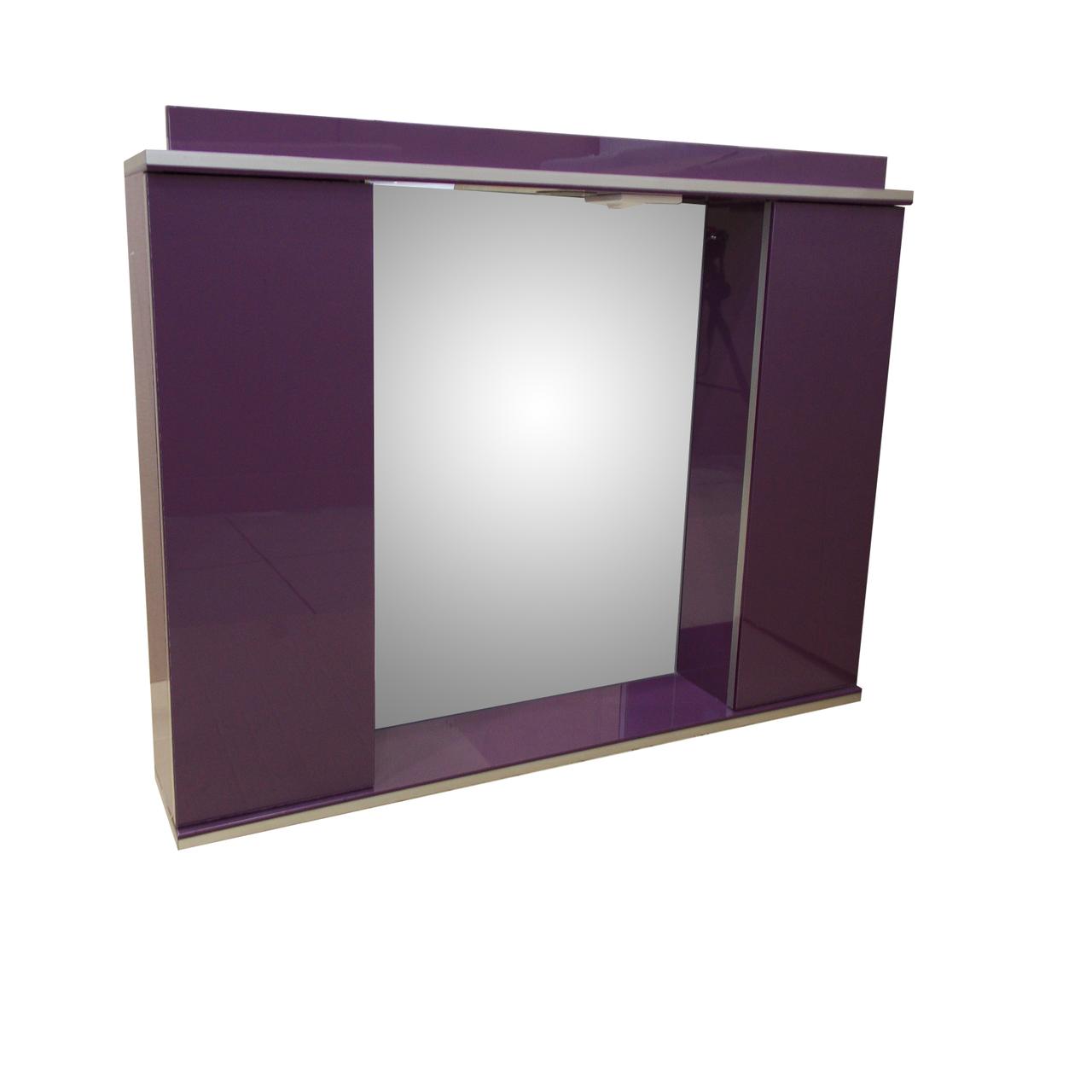 Зеркало 85см для ванной комнаты с подсветкой,розеткой и шкафчиками Norvey фиолет