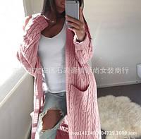 Женский розовый длинный кардиган с карманами