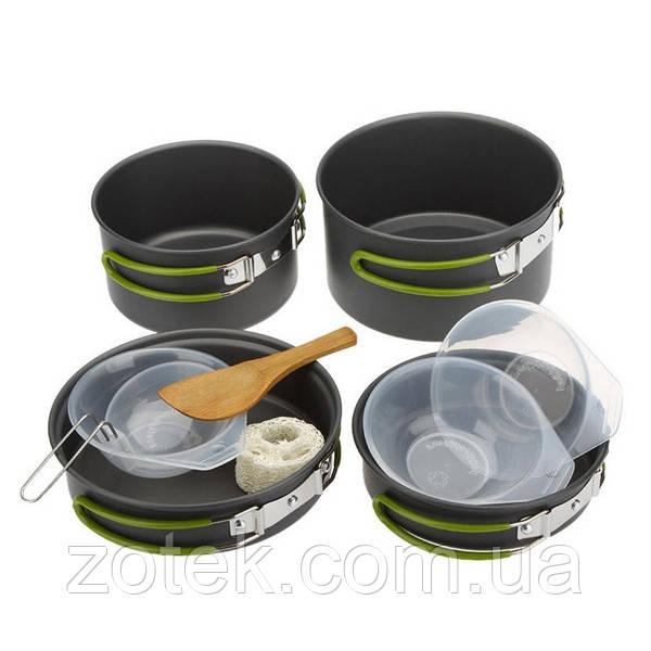 Набор посуды DS-301 на 3 персоны, анодированный алюминий, комплект туристический походный кемпинг