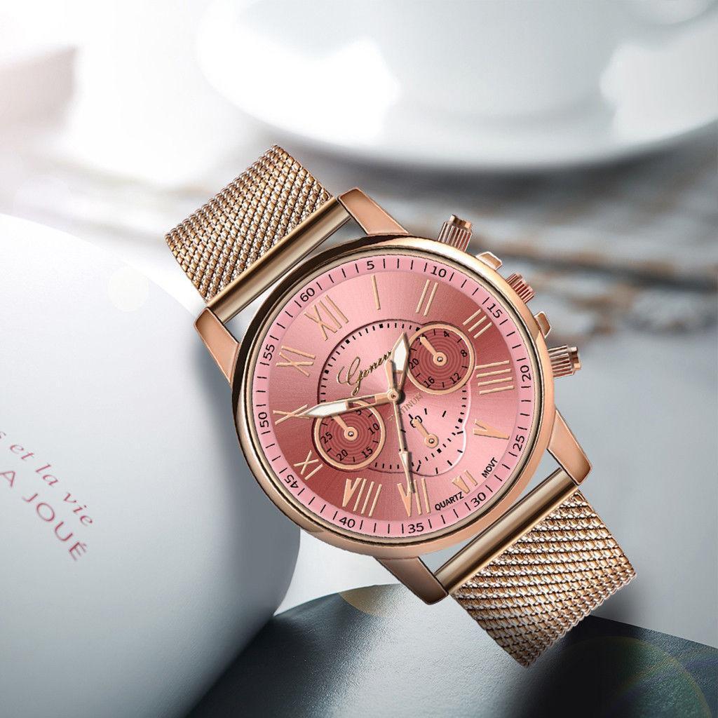 Стильные женские наручные часы «ParisG» (розовый циферблат)
