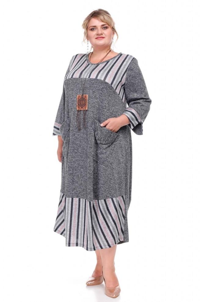 Стильное женское платье батал Бостон серый (62-72)