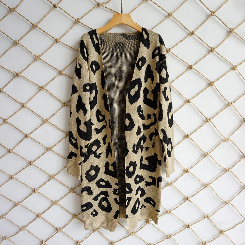 Женский длинный кардиган леопардовый