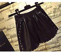Женские шорты  кожаные с заклепками, фото 1