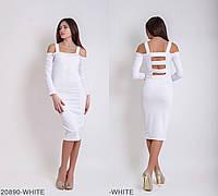 Привлекательное платье-футляр  с рукавами и красивой открытой спиной Miley
