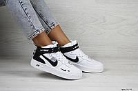 Женские кроссовки Nike Air Force 1 высокие, кожа, белые с черным.