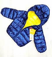 Детская демисезонная куртка с капюшоном для мальчика Размер 90,100,110 на 2,3,4 года Цвет синий перламутр