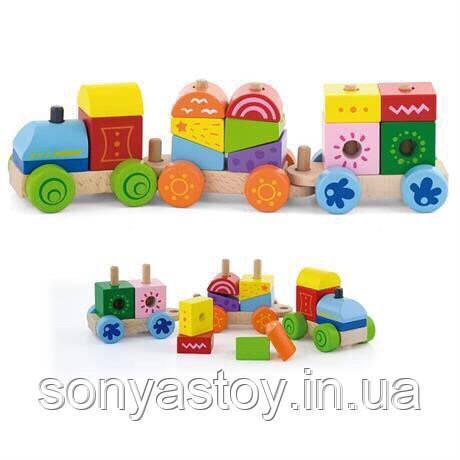 """Дерев'яний конструктор-поїзд """"Яскраві кубики"""", 14 блоків, 1.5+"""