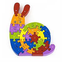 Деревянный пазл-головоломка на изучение счета и английского алфавита, 3+, фото 1