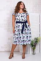 Летнее платье миди с поясом 50-56 р ( разные цвета )