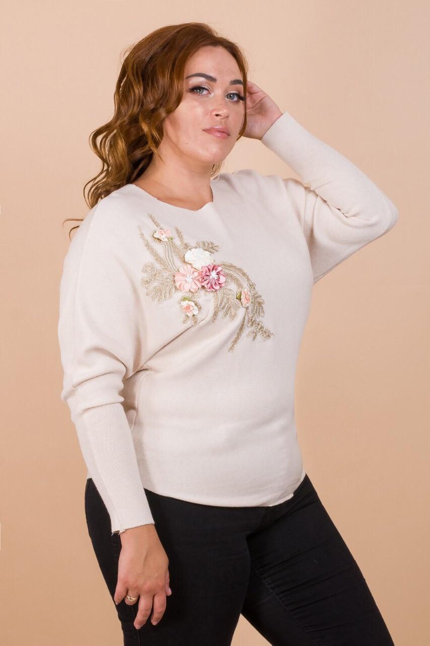 Женский свитер с аппликацией 48-54 (в расцветках)