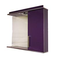 Дзеркало 80 см для ванної кімнати з підсвічуванням, розеткою і шафкою, фіолет