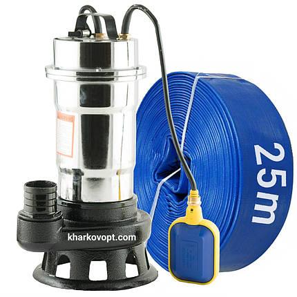Фекальный насос с измельчителем + шланг 25м DELTA WQS корпус нержавейка, фото 2