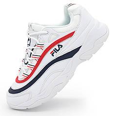 Женские белые кроссовки FILA Ray с синим. Топ качество! - Реплика р.(35, 36, 37, 38, 39, 40)