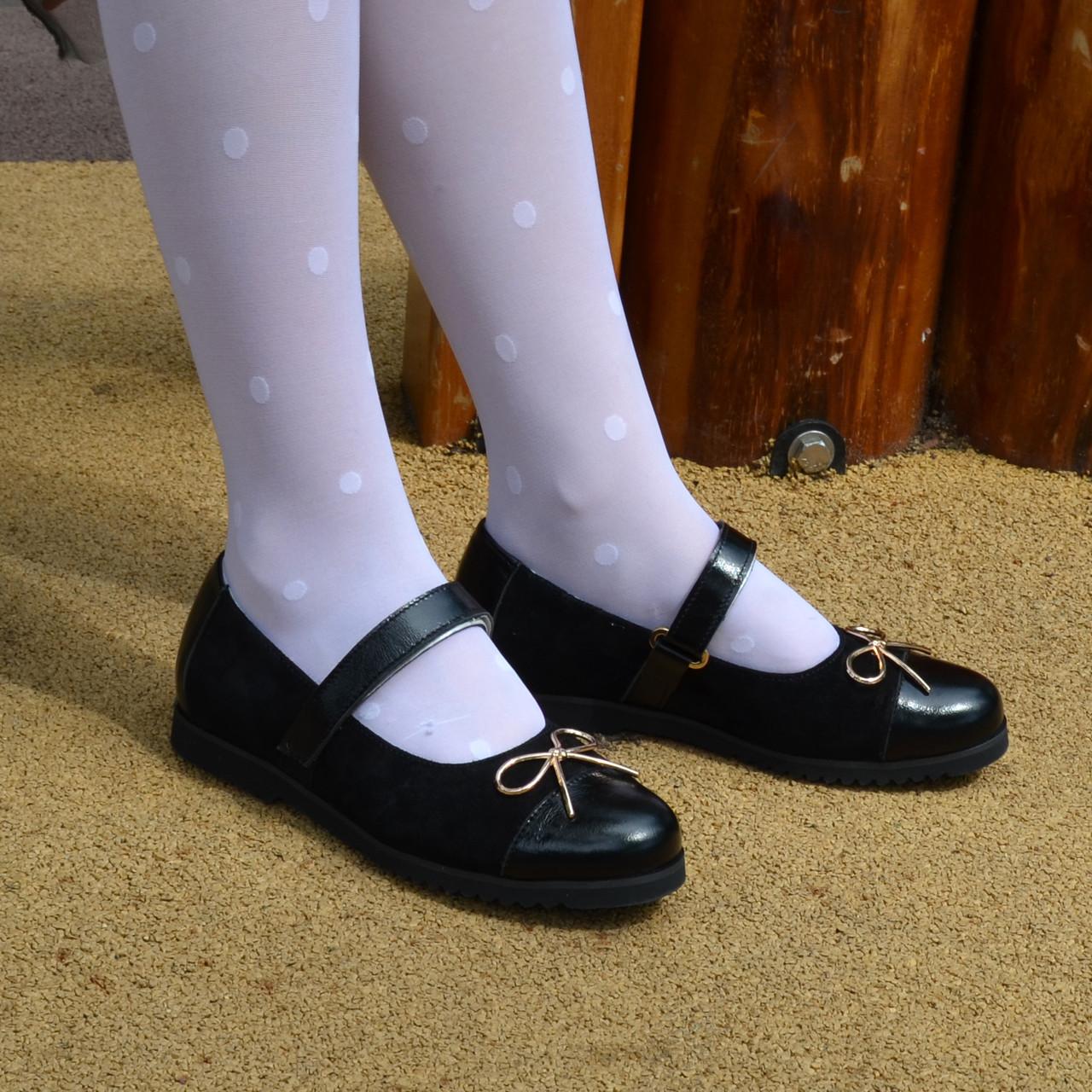 Туфли школьные для девочек из натуральной лаковой кожи и замши