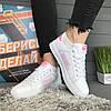 Кроссовки женские в стиле Nike Air белые с розовым логотипом, фото 3