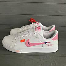 Кроссовки женские в стиле Nike Air белые с розовым логотипом, фото 2
