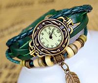 Часы с кожаным ремешком, женские, механические, цвет - зелёный