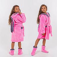 Детский махровый халат с ушами с сапожками для девочки 4 5 6 7 8 9 10 лет розовый серый молочный бежевый