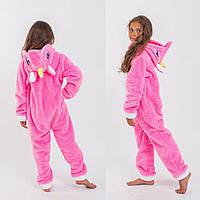 Пижама цельная кигуруми детская для девочки единорог 10 11 12 13 14 лет розовая белая