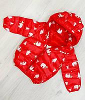 Детская демисезонная куртка с капюшоном для девочки Размер 74-90  на 9 месяцев - 2 года  Цвет красный