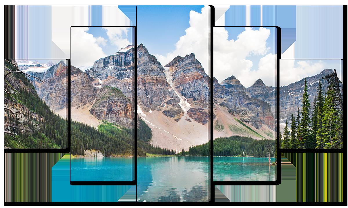 Модульная картина Interno Эко кожа Озеро у подножья горы 123х69см (A1529M)