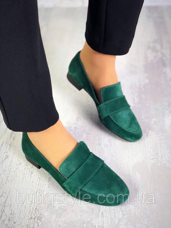 Жіночі смарагдові туфлі-лофери натуральна замша