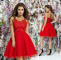 Нарядное платье до колен платье на выпускной вечер гипюр+габардин+сетка размер:42,44,46