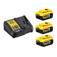 Зарядное устройство и 3 аккумулятора DCB184 5Ач DeWalt DCB115P3