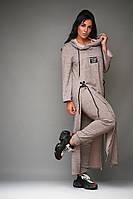 Стильный прогулочный женский костюм ангора 50 52 54 56 58 60 62  хаки серо-розовый