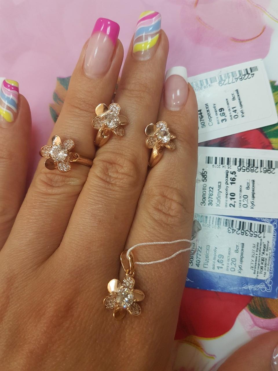 Золотое кольцо 585 пробы.