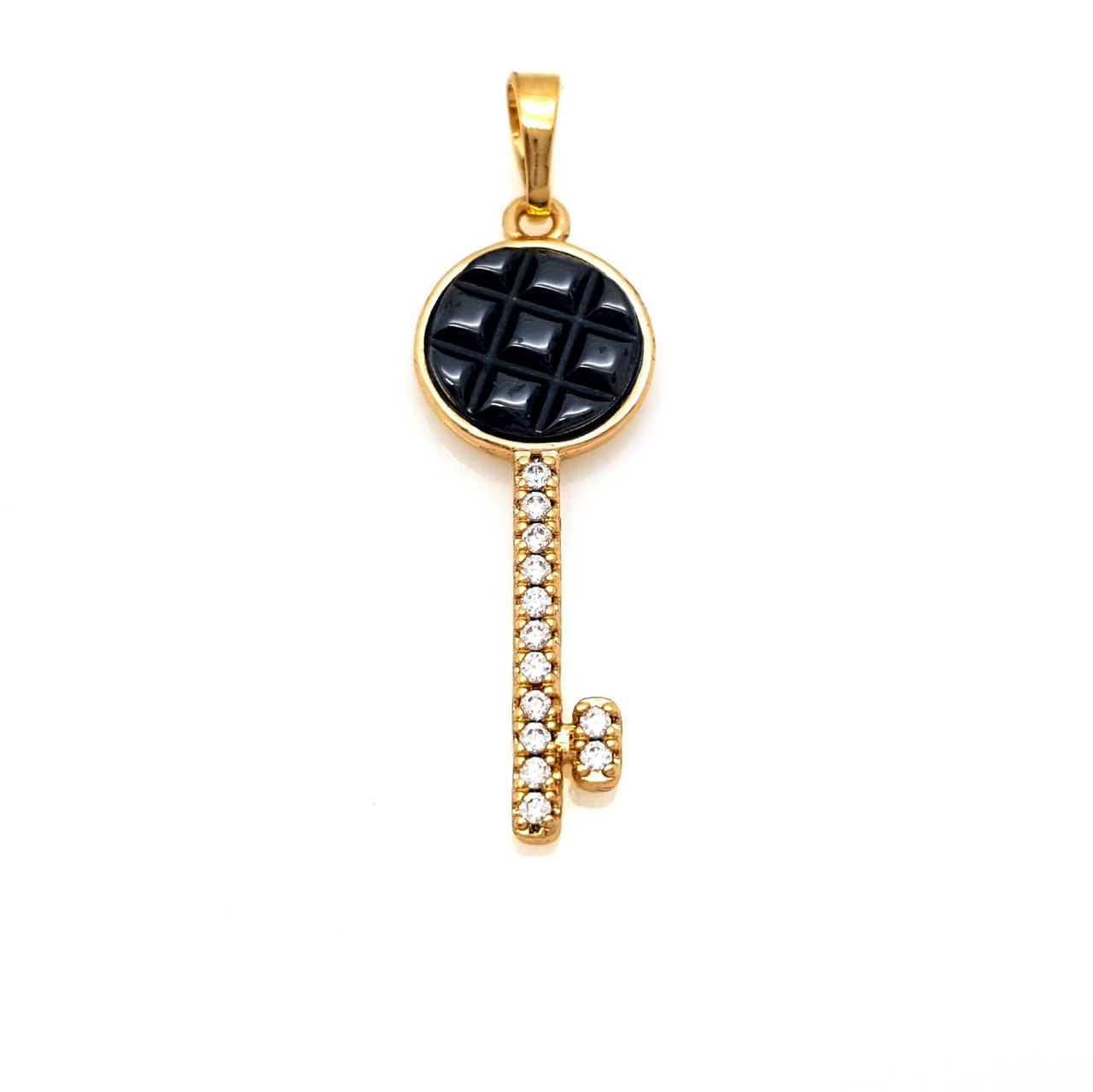 Кулон Ключик, с черной керамикой и камнями, позолота