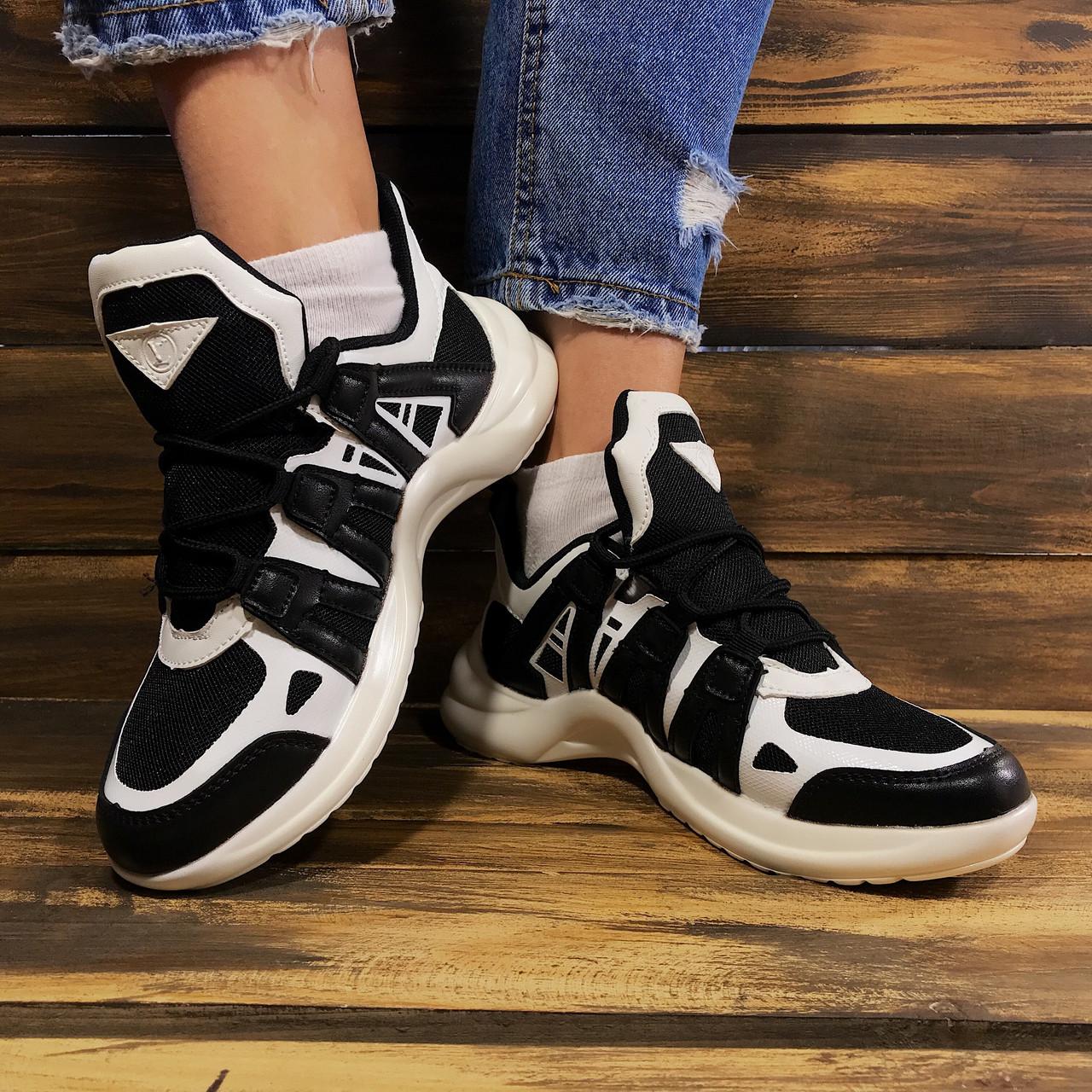Кроссовки женские в стиле Louis Vuitton текстильные черно-белые