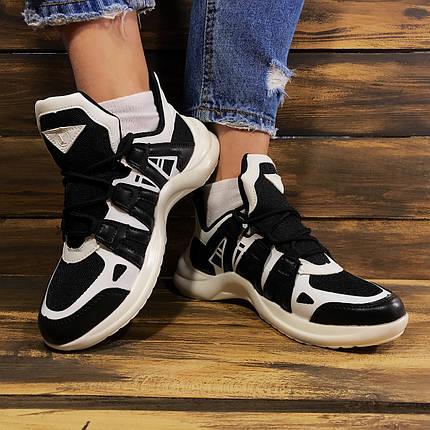 Кроссовки женские в стиле Louis Vuitton текстильные черно-белые, фото 2