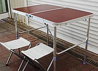 Зручний розкладний стіл для пікніка 60*90 темне дерево + 2 стільці, фото 1