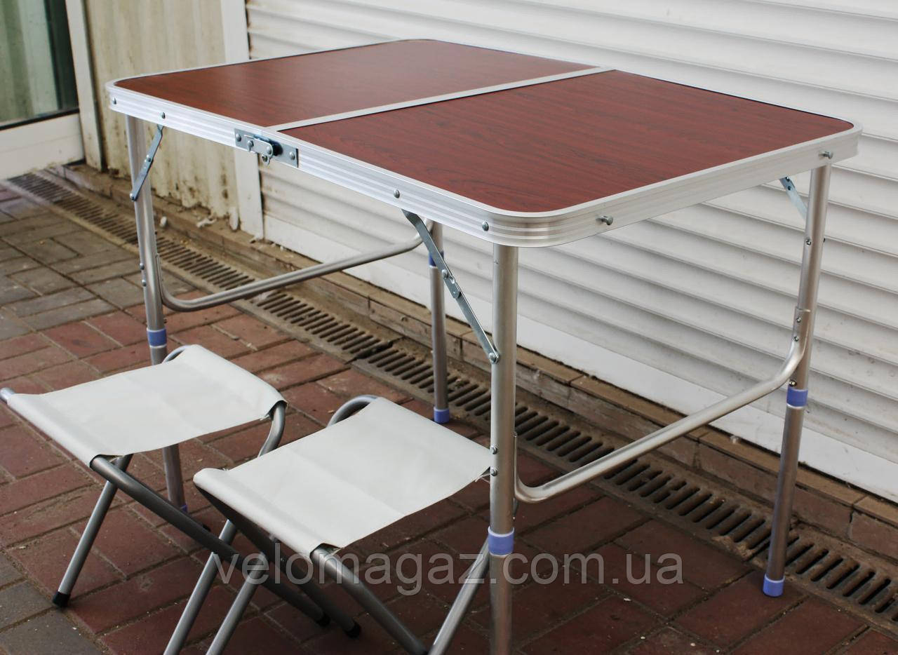 Зручний розкладний стіл для пікніка 60*90 темне дерево + 2 стільці